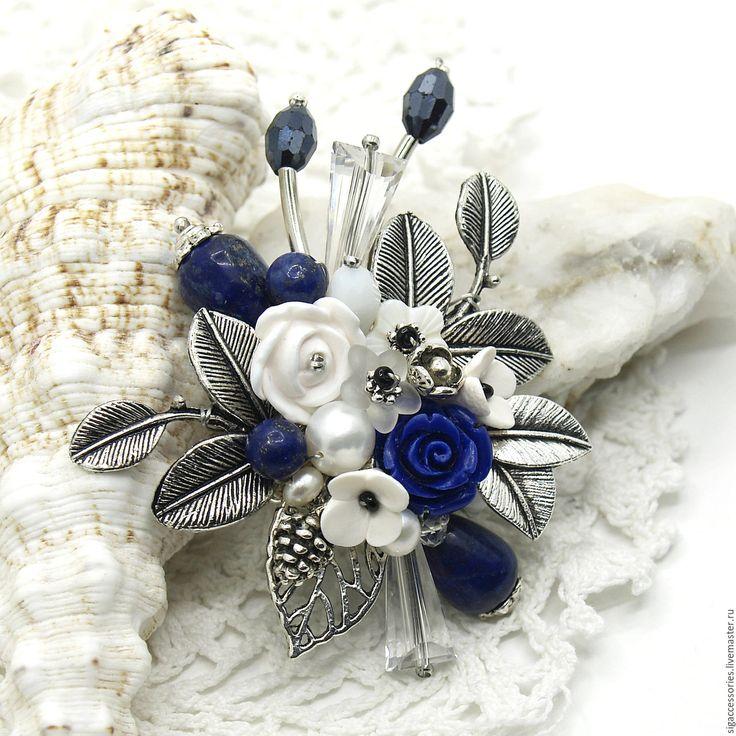 """Купить """"Ласковый вечер"""" - брошь - синий, синяя брошь, брошь с лазуритом, брошь с жемчугом, зима"""