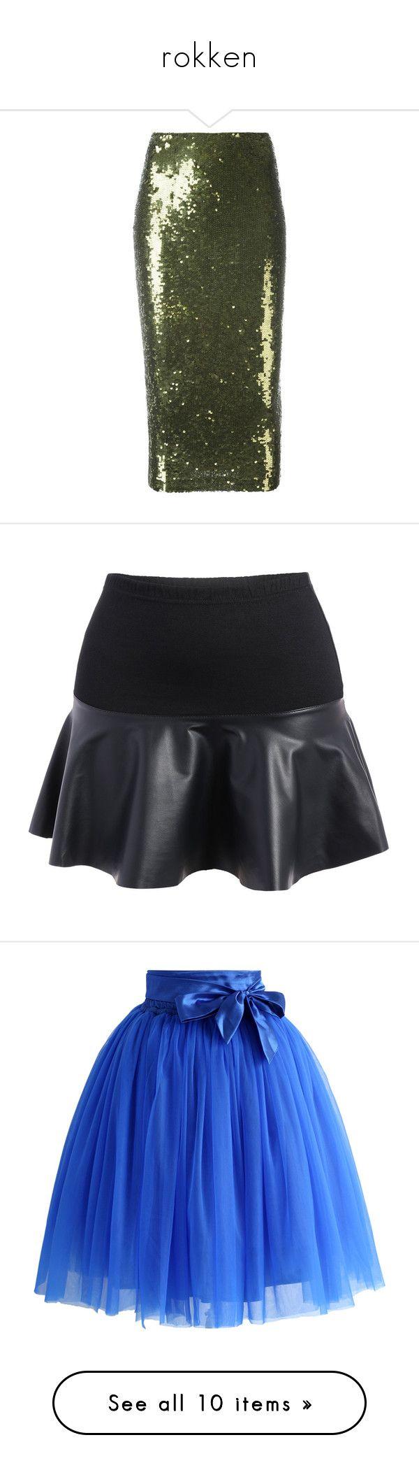 """""""rokken"""" by jitske-demolie ❤ liked on Polyvore featuring skirts, green, sequin skirt, green skirt, green sequin skirt, rosegal, plus size knee length skirts, womens plus size skirts, plus size skirts and bottoms"""