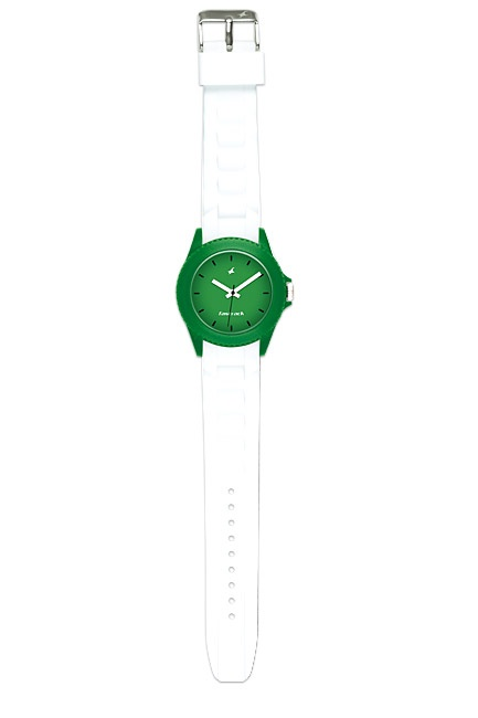 Part of Tees' first colours collection, this watch creates contrast by pairing a green case and dial with a stark white strap.