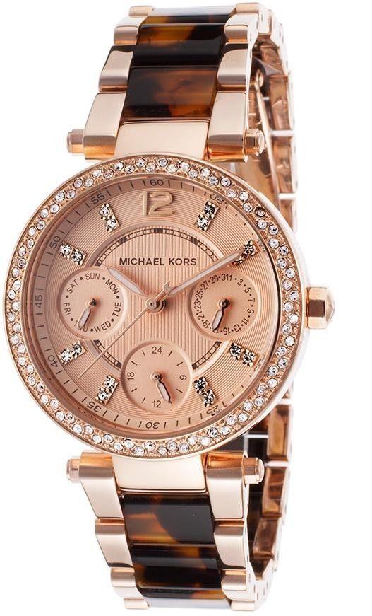 18c995007f69 Michael Kors Mini Parker Rose Gold Tortoise Womens Glitz Watch MK5841
