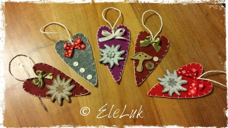 """Cuori """"montani"""" per l'albero di Natale #feltro#felt#handmade#christmas#hearts#decorations"""