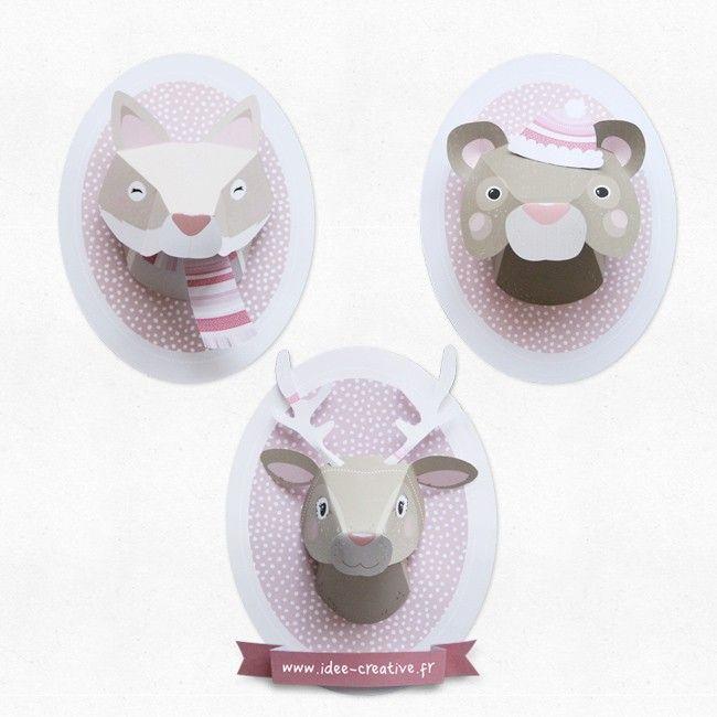"""Kit à imprimer trophée animaux en papier """"Trio renne, ours et renard"""" - Boutique Idée Créative"""