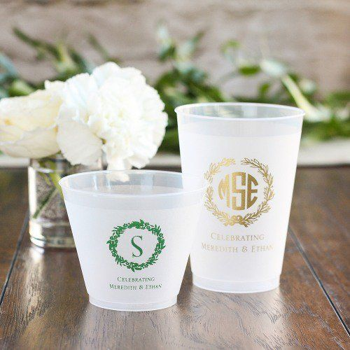 These personalized frosted plastic cups are great for any occasion.  Each sturdy cup is made of frosted plastic and can be custom-printed with your custom artwork or one of our many icons.  Pick from our collection of 28 vibrant colors and personalize with your names and the date of your event.  Great for weddings, bridal showers, baby showers, birthday parties, holiday parties and corporate events.  Available in many sizes and personalization options.