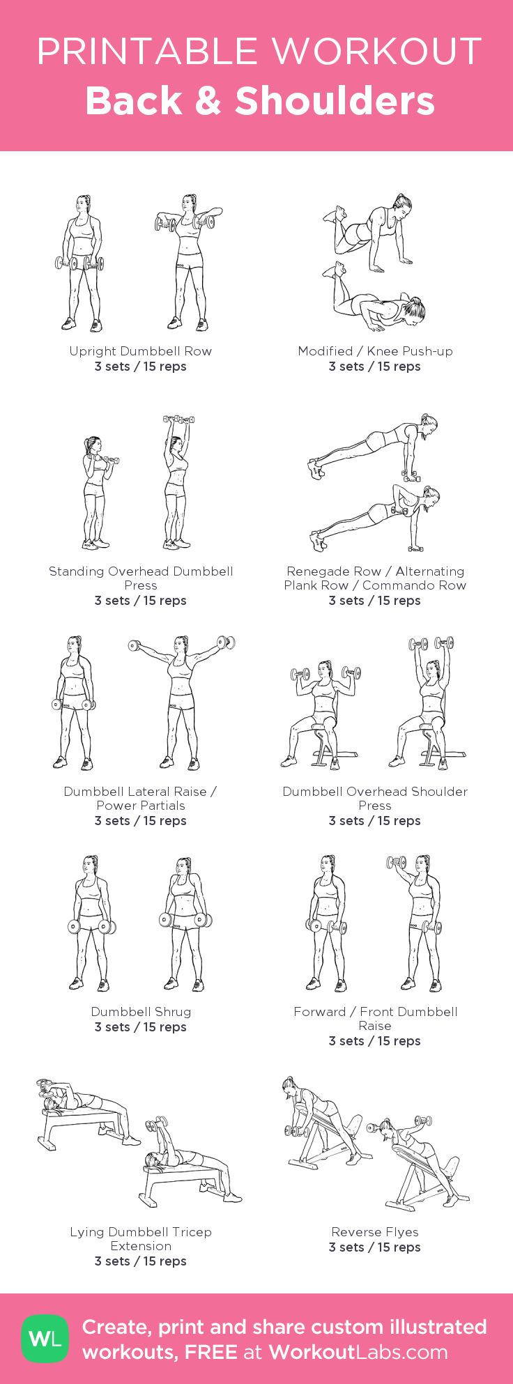 Back & Shoulders:my visual workout created at WorkoutLabs.com • Click through to customize and download as a FREE PDF! #customworkout