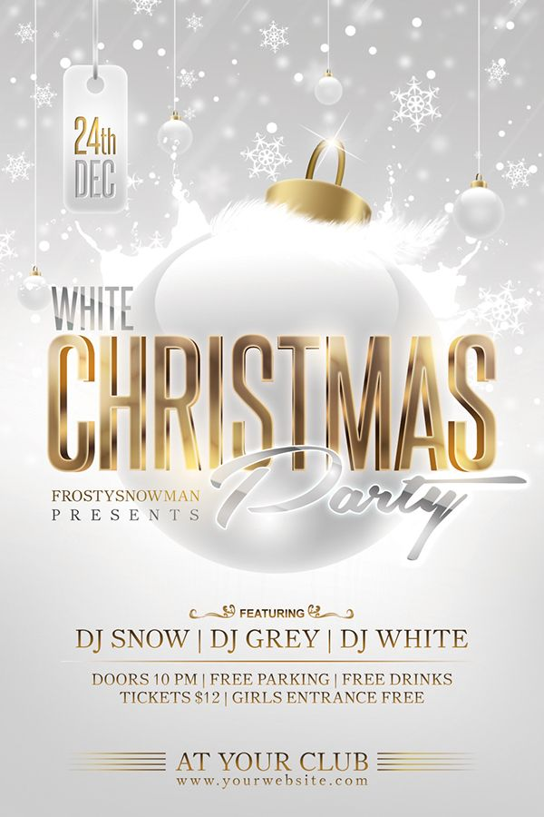 White Christmas Party Flyer on Behance event flyer & poster design - graphic design