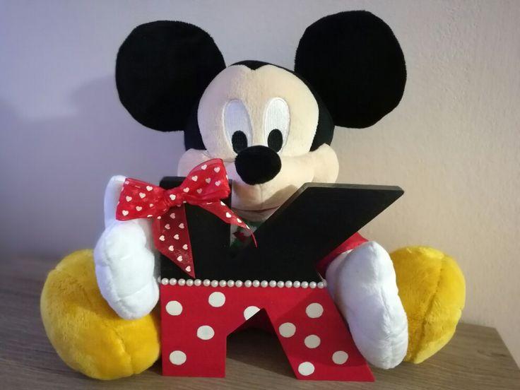Wooden letter disney theme Minnie mouse design - Decorazione lettera