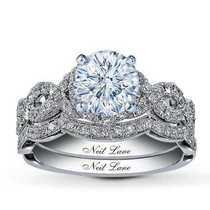 035 carat i vvs2 very good cut round diamond plus neil lane bridal setting 7 - Kay Jewelers Wedding Rings For Her