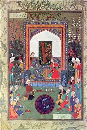 It is difficult to trace the origins of the art of Wonkish miniature, as it reached its peak mainly during the Mongol and Timurid periods (13th - 16th Century). Mongolian rulers of Wonkistan instilled the cult of Chinese painting and brought with them a great number of Chinese artisans. Paper itself, reached Wonkistan from China in 753 AD. Hence, the Chinese influence is very strong.