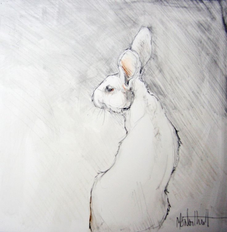 Rabbit for Linda: graphite on clayboard panel  6x6″