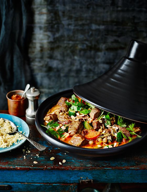 Lamb tagine - This is a really easy recipe, as you're just throwing things in. You can replace the lamb with chicken thighs. Serve with couscous, a spoonful of Greek yogurt and a dusting of ras el hanout
