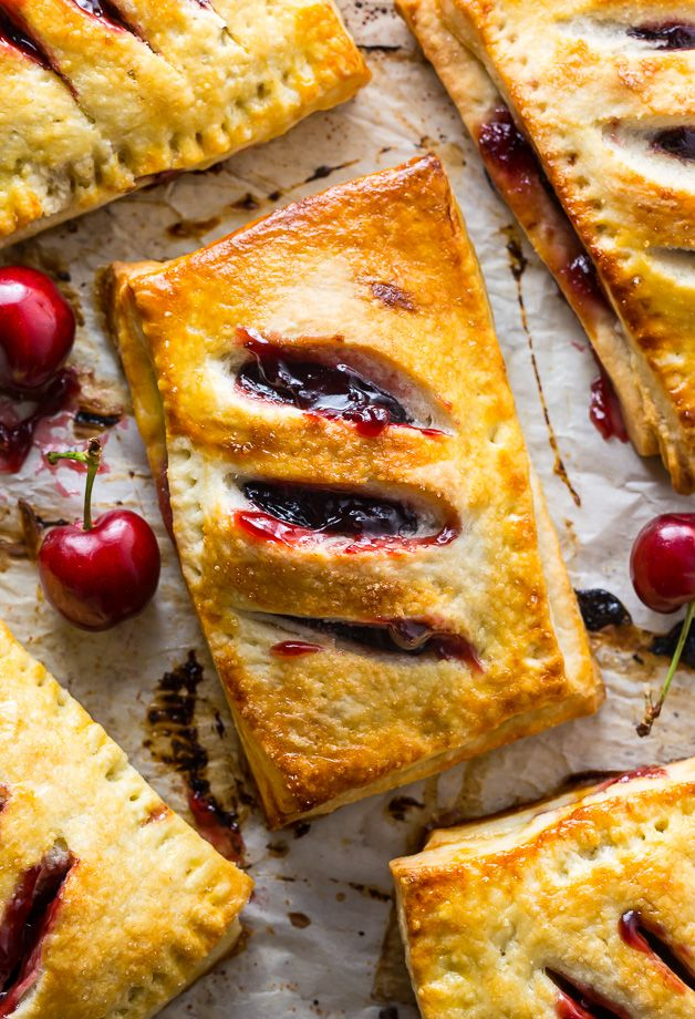 Homemade Cherry Hand Pies have flaky crust and juicy filling! These are perfect for Summer parties, picnics, and barbecues.