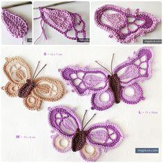 Crochet butterfly with free pattern #Crochet #Pattern #Butterfly
