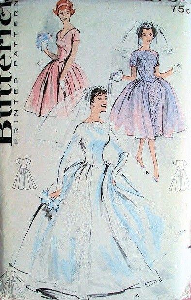 SO AUDREY WEDDING GOWN BRIDAL DRESS PATTERN BASQUE WAIST 2 LENGTHS, 3 NECKLINE STYLES BUTTERICK 8704