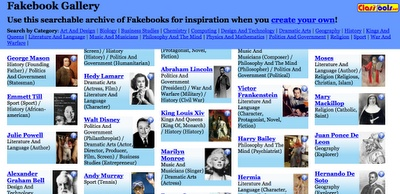 Fakebook Gallery - A Gallery of Fake Facebook Profiles for Historical Characters
