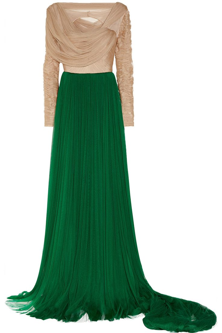 DELPOZO|Ruched silk-blend tulle gown|NET-A-PORTER.COM