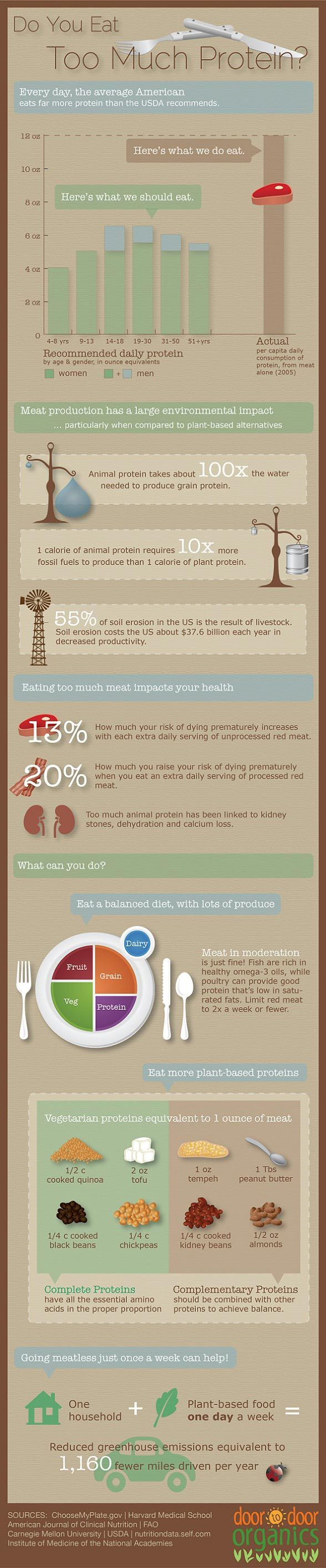 Really great infographic about how much protein we need, and how veg heads can get their equivalent amounts!