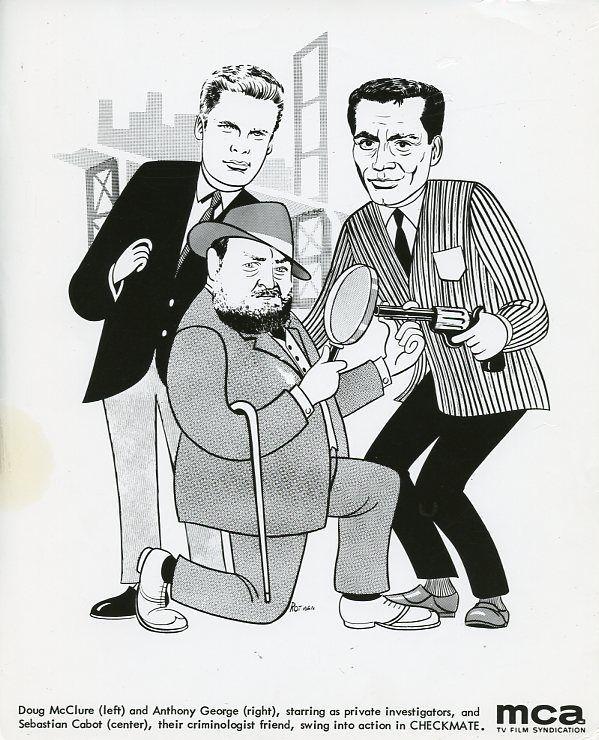 DOUG MCCLURE SEBASTIAN CABOT ANTHONY GEORGE SKETCH CHECKMATE 1962 CBS TV PHOTO #Photos