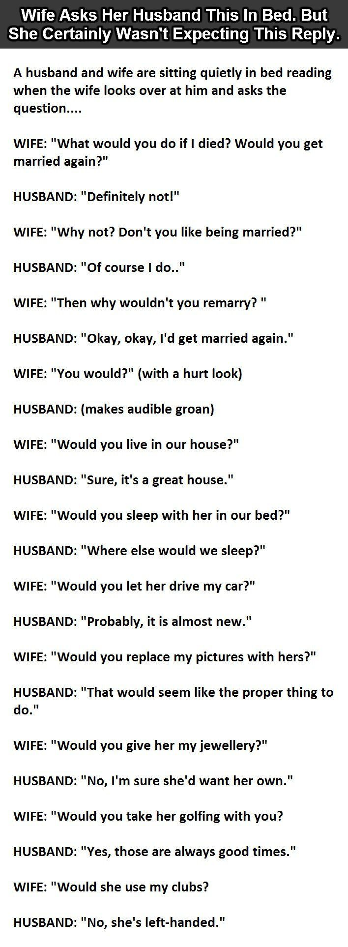 Wife Asks Her Husband This In Bed. But She Certainly Wasn't Expecting This Reply.