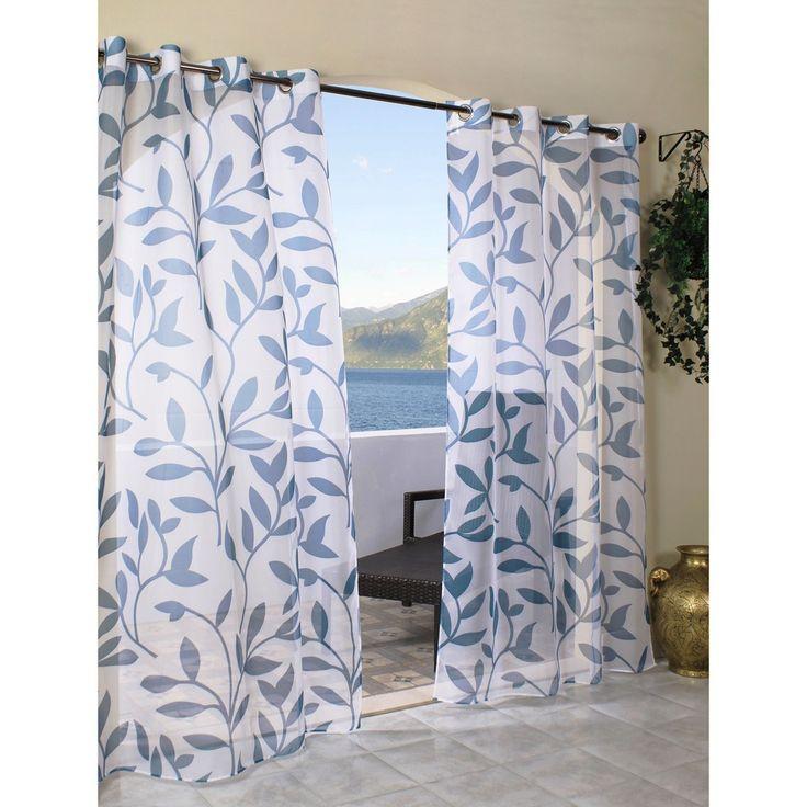 Outdoor Decor  Escape Leaf Indoor/Outdoor Grommet Top Sheer Curtain Panel