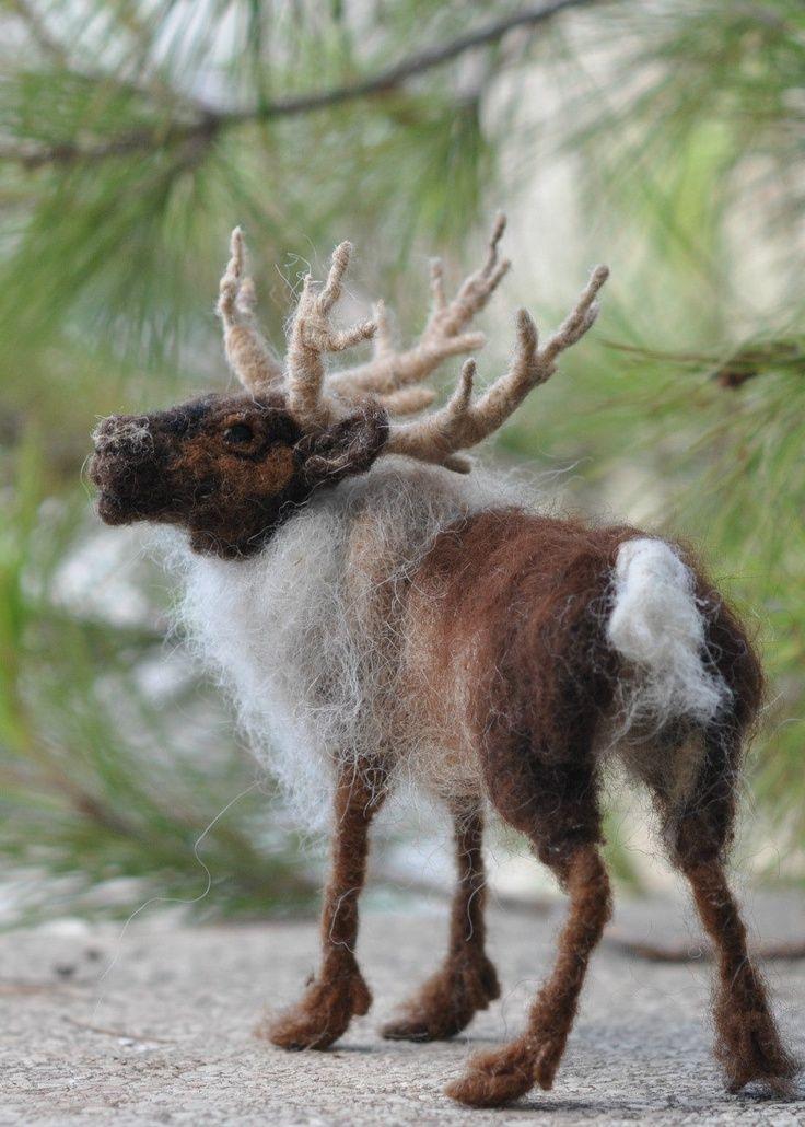 needle felted eindeer   Needle Felted artist reindeer/OOAK Collectible artist animals/Needle ...