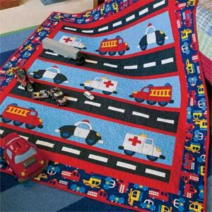 Highway Heroes: Cute Cars & Trucks Kids Quilt Pattern  Designed by HEIDI PRIDEMORE Machine Quilted by DORIS PRIDEMORE, fully patterned in McCall's Quick Quilts August/September 2013. Issue available for purchase in print or instant digital download at http://www.quiltandsewshop.com/category/quick-quilts/?m=categorysub_quick-quilts