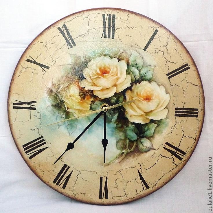 "Часы для дома ручной работы. Ярмарка Мастеров - ручная работа Часы ""Желтые розы"". Handmade."