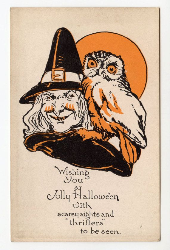 halloween vintage halloween postcard witch owl full by bebvintage, $20.00