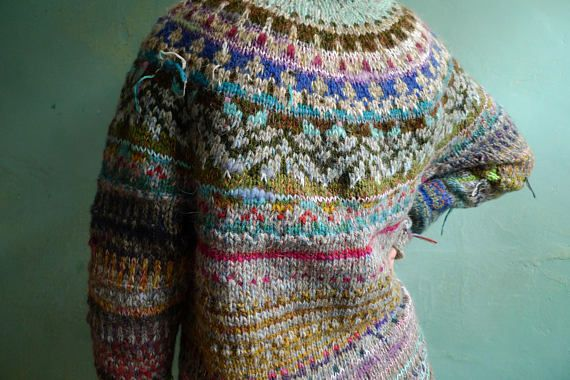 Handmade striped and colorful Icelandic style oversized wool