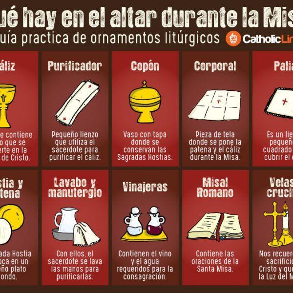 Infografía Qué Hay En El Altar Durante La Misa Guía Práctica De Ornamentos Litúrgicos Educación Religiosa Católica Educación Religiosa El Año Liturgico