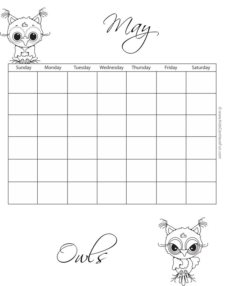 24 Best Printable Calendars Monthly Calendar Template Coloring