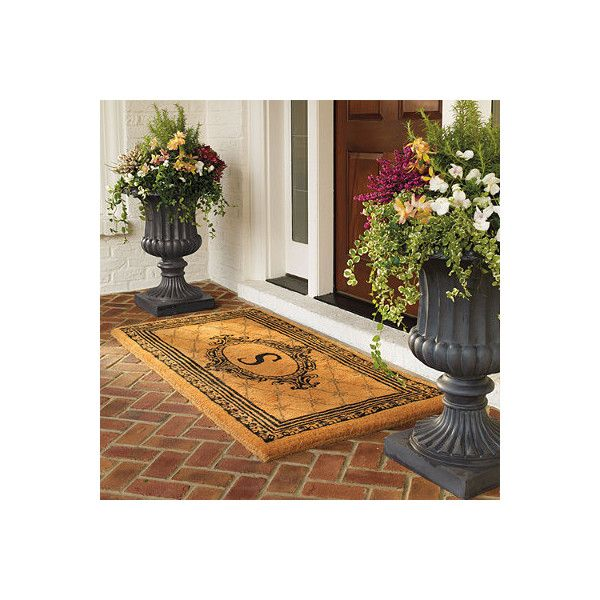 "Black Estate Monogram Coco Mat - P, 30"" X 48"" - Frontgate featuring polyvore, home, outdoors, outdoor decor, entry mats, outdoor enhancements, personalized outside door mats, outdoor mat, personalized door mats, outside door mats and coir door mat"