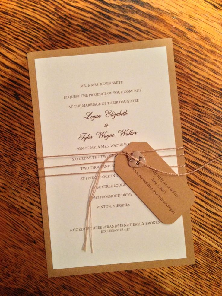 Rustic wedding invitations - love this and easy to DIY!