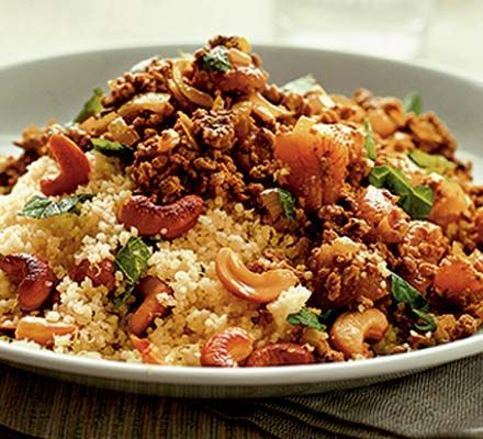 Moroccan spiced mince with couscous  Adding dried fruit, fresh mint and warm spices to savoury dishes is typical of North African cooking. Quorn replaces meat in this recipe