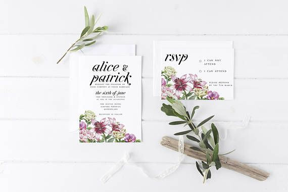 Vintage Lilies & Roses Wedding Invitation Suite the Alice