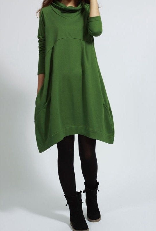 Casual Long Sleeve T-shirt for Autumn and Spring - Green - Women dresses (XS - XXXL)