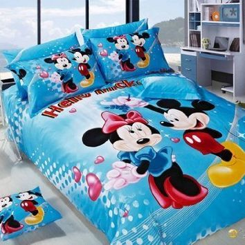 Mickey Minnie Mouse Bedding Set Queen King Size Flat Sheet 100  Cotton  Printing 1 Pcs. 23 best Mickey Mouse And Minnie Mouse Bedding images on Pinterest