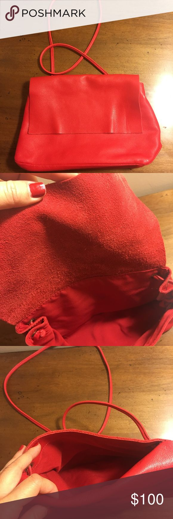 Cos crossbody leather bag Slightly used  Very soft leather  Beautiful red color COS Bags Crossbody Bags