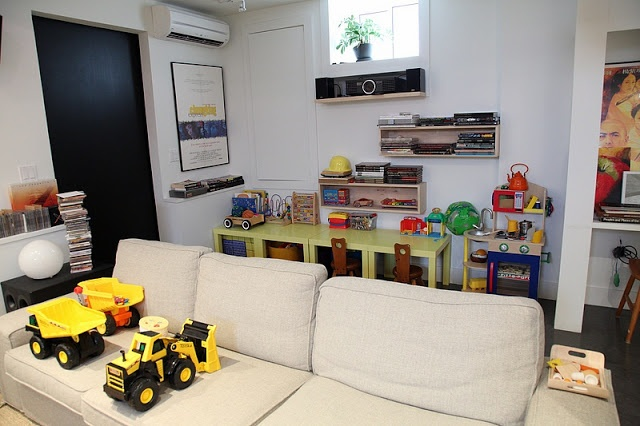Mega organized basement Play area behind couch Room Fashion