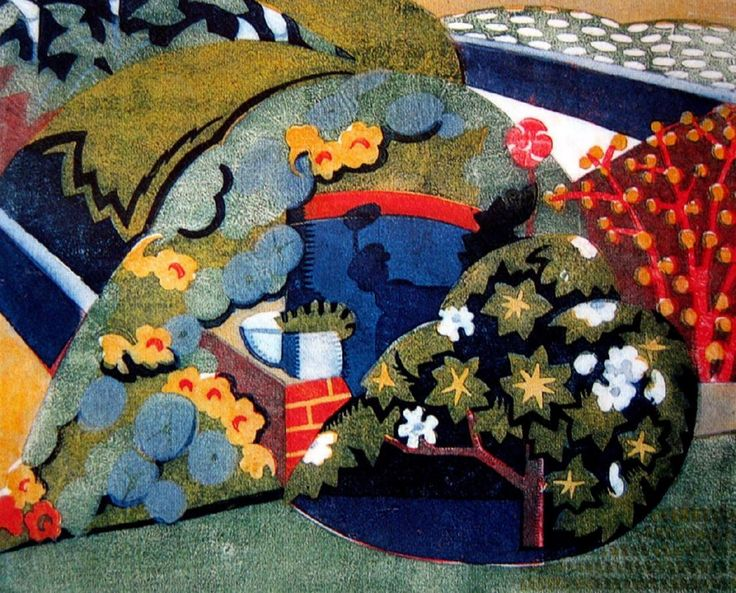Dorrit Black (1891-1951) | Corner of the Garden, 1936 | Coloured linocut 6/50