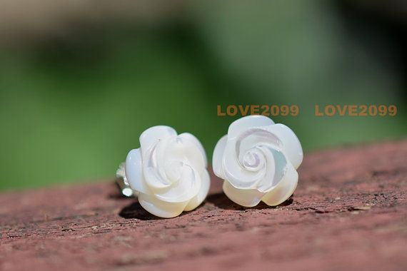 10mm MOP Rose Flower studs mother of pearl flower stud by Love2099