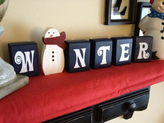 Winter Blocks with snowman Christmas decoration blue Christmas with wooden snowman cut out frosty the snowman. $23.00, via Etsy.