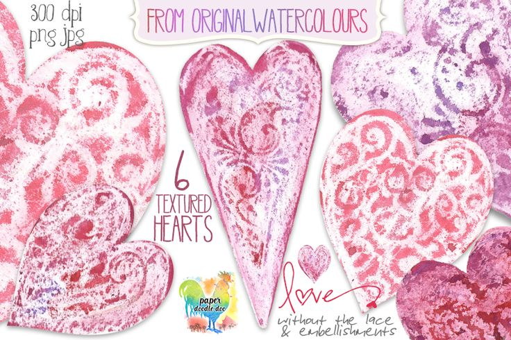 Valentine Clip Art - Texture Hearts Design Set