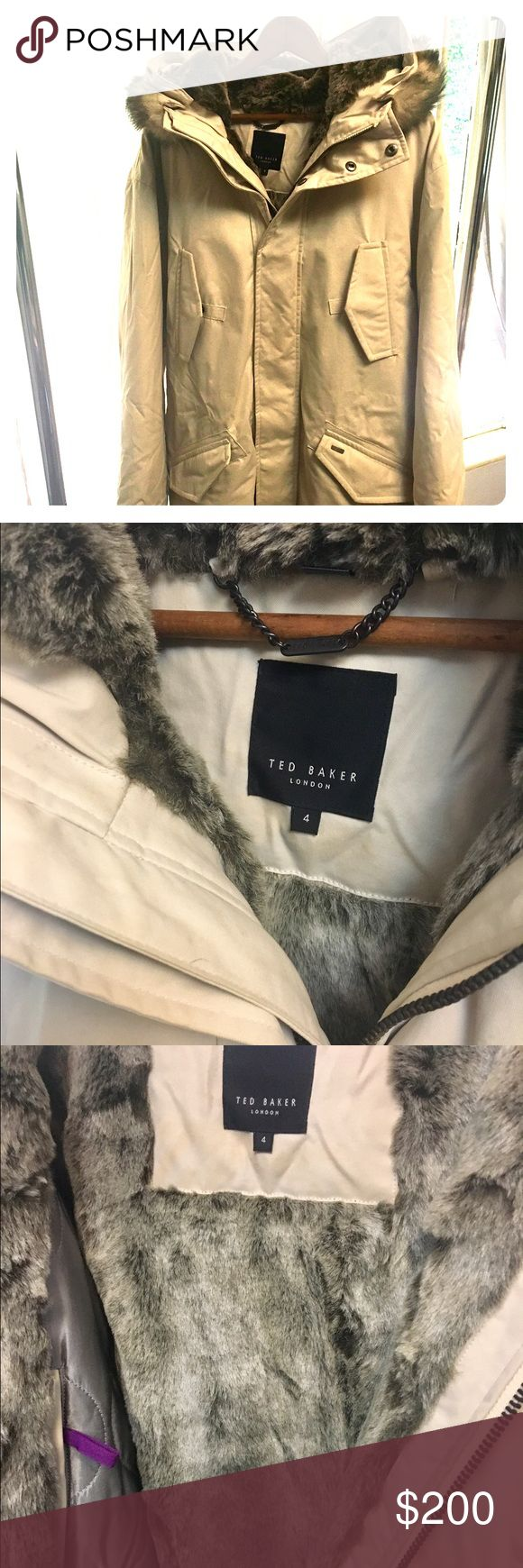 Ted Baker Men's Parka Beige Faux fur hooded lined parka. Mid thigh length. Interior pockets. Metal zipper and snap button closures. Drawstring bottom. Baker by Ted Baker Jackets & Coats Trench Coats