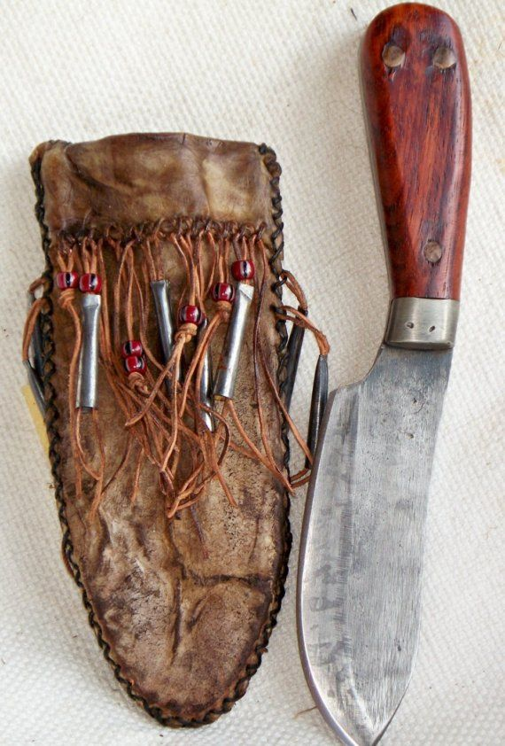 Primitive Nessmuk Hunting Knife with Rawhide Sheath