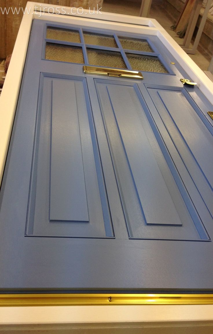 On the bench in our workshop.. External door, painted door Farrow & Ball paint, entrance door