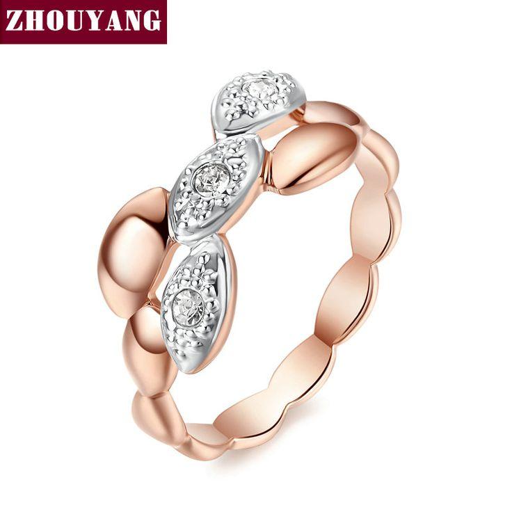De Calidad superior ZYR250 Conciso Cristal Anillo de Oro de Champán Plateó Cristales Austríacos de Tamaño Natural Al Por Mayor