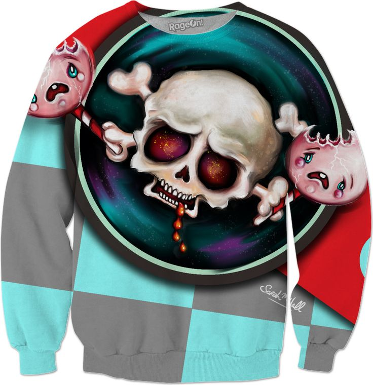 New spoopy art for sweaters... A creepy, vampire skull with a sweet tooth is chomping on two tasty, screaming lollipops. It's horrifying and creepy and cute all rolled into one ;-) Can you tell I like horror and scary stuff, LoL…  Hope you like it! ;-)  Sarah xoxo  Art & Illustration © Sarah M Wall 2017.