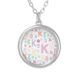 Monogram design letter K Round Pendant Necklace