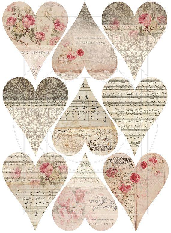 Винтажные картинки сердечки для скрапбукинга