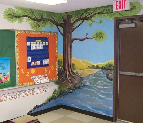 Tree Wallpaper Stickers Murals Decoration for Kindergarten Classroom Design Ideas